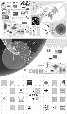 high technology: Black and white modern warfare holographic illustration