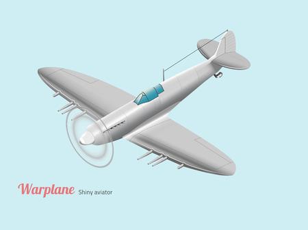 fighter pilot: World war warplane British silver isometric