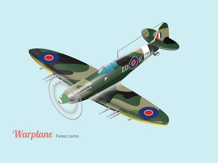 military aircraft: British warplane world war isometric Illustration