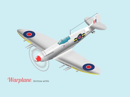 Weltkrieg-Kampfflugzeug Briten Silber Vektor isometrische Standard-Bild - 49082272