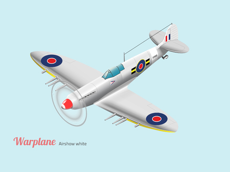 World war warplane British silver vector isometric