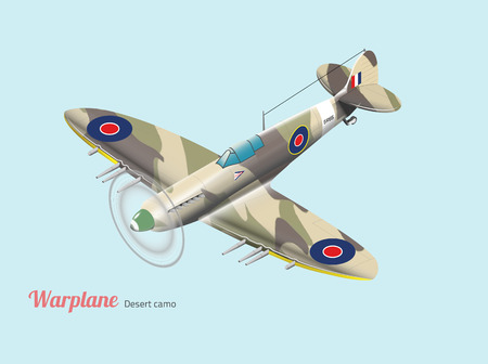 British warplane world war isometric vector in desert camouflage Ilustração
