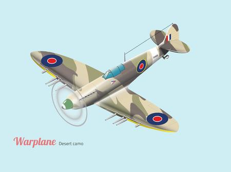 Guerre mondiale warplane vecteur isométrique britannique en camouflage de désert Banque d'images - 49082274