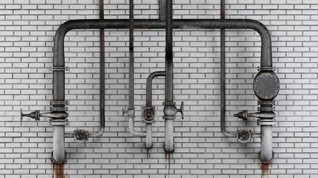 oxidado: Conjunto de viejos, tuberías oxidadas y válvulas contra el blanco muro de ladrillo moderno con manchas de fugas