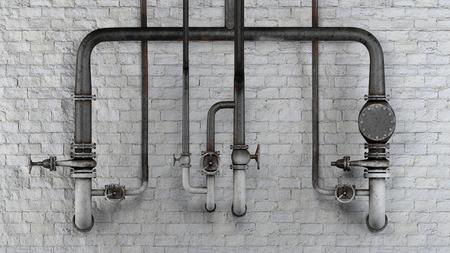 Set van oude, roestige buizen en kleppen tegen witte klassieke bakstenen muur