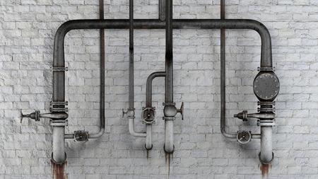 oxidado: Conjunto de viejos, tuberías oxidadas y válvulas contra el muro de ladrillo blanco clásico con manchas de fugas