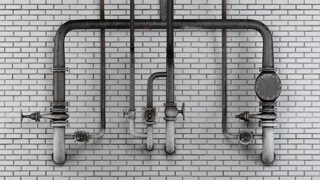 Set van oude, roestige buizen en kleppen tegen witte moderne bakstenen muur