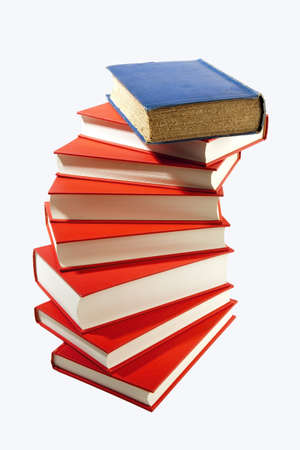 isolatedrn: Isolated old & new book pile Stock Photo