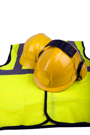 hi-vis jacket and two workmens hard hats