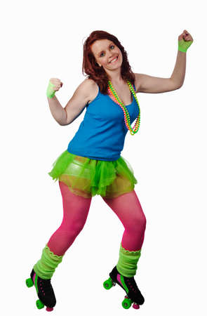 Young woman dressed as a roller girl in 1980s style clothing