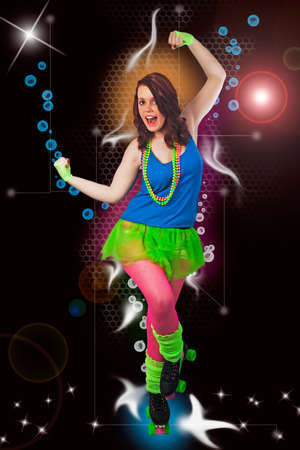 Young woman in 1980s style roller disco cosutme surrounded by stylised disco loighting and effects Stock Photo