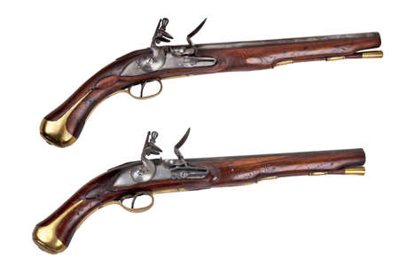 duelling: Pair of Dragoons pistols on a white background, circa 18th century