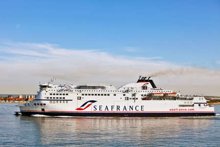 CALAIS,FRANCE - JULY 2010. Sea France ferry Berlioz enters the Channel port of Calais on July 19, 2010 at Calais. MV Berlioz is the newest cross channel ferry in the Sea France fleet and the only SF ferry to have been built in France Editorial