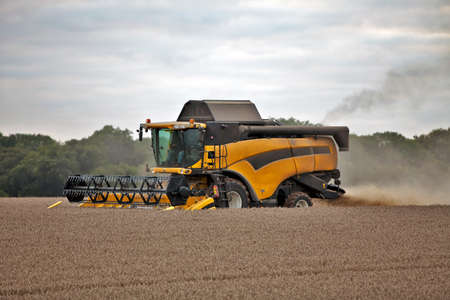 arable farming: Combine harvester collecting the summers crop in a cloud of dust