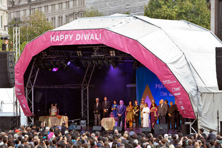 proceedings: LONDON, OCTOBER 16: The Indian High Commissioner to Great Britain opens proceedings at the Diwali Festival of Light in Trafalgar Square on October 16, 2011 in London.