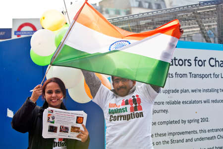 LONDON, OCTOBER 16: A peaceful demonstration against corruption in India held on the sidelines of the Diwali Festival of Light in Trafalgar Square on October 16, 2011 in London. Editorial