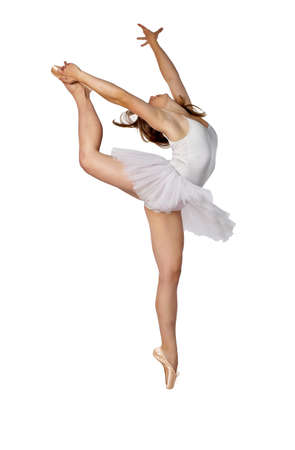 Young ballerina stretching up towards the sky on a white background Stock Photo