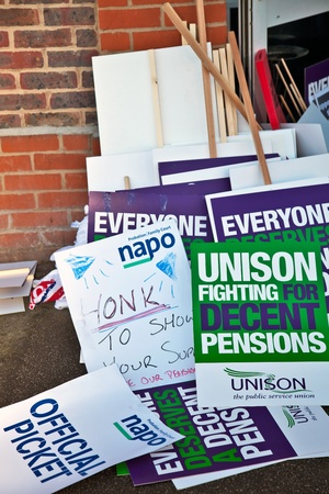 AYLESBURY, ENGLAND - NOVEMBER 30: Demonstrators discarded placards lay outside the Unions meeting hall during the day of public sector workers strikes on November 30, 2011 in Aylesbury Stock Photo - 11440980
