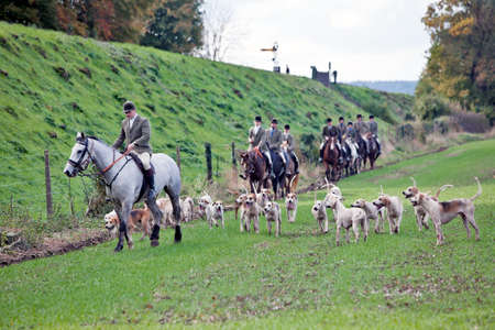 ROPLEY, ENGLAND - OCTOBER 29: Members of the Hampshire Hunt cross the fields below Wanderers curve on October 29, 2011 at Ropley. Hunting foxes and other game with dogs is now illegal in the UK, only trail scenting is still permitted