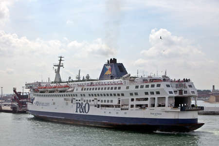 CALAIS, FRANCE - AUGUST 1. P&O ferry Pride of Dover enters Calais port on August 9, 2010 at Calais. The liquidation of Sea France on 9112 leaves P&O as the major surface cross channel operator