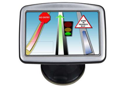 Conceptual image of a business road map on a modern satnav device