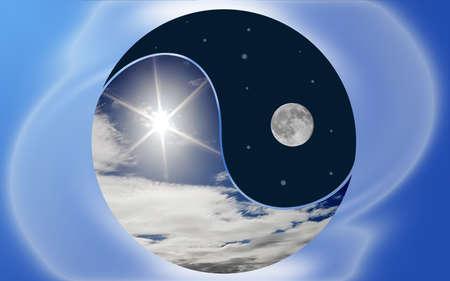 yang yin: Imagen conceptual de las fuerzas opuestas de la luz del sol y la luna en un s�mbolo de Yin Yang Foto de archivo