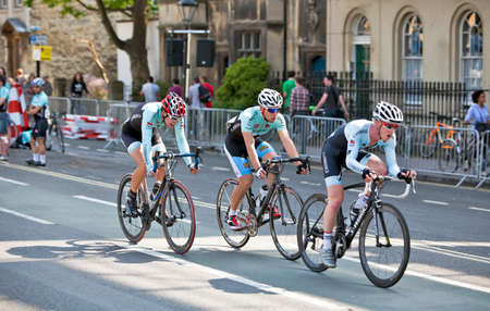 OXFORD, ENGLAND - MAY 22: Cyclists from Cambridge University lead the Oxbridge time trial road race against Oxford during the Halfords Pro Cycling UK Tour on May 22, 2012 in Oxford Stock Photo - 13887100