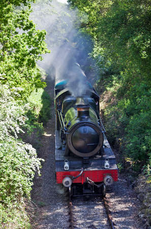 weald: ONGAR, ENGLAND - MAY 25: Passing though a cutting near Blakes Hall, loco Pitchford Hall leads the first passenger train service since 1994 from Ongar to North Weald on May 25, 2012 at Ongar