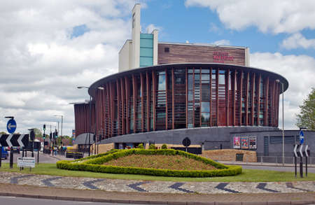 public works: AYLESBURY, UK - MAY 11: The newly commissioned Waterside Theatre on May 11, 2012 in Aylesbury.The Waterside Theatre is a Public Works building opened in October 2010 by Cilla Black, at a cost of �47Mn