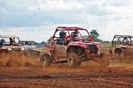 mx: CULHAM, UK - JULY 15: unidentified Drivers participating in the Southern Regional Nora MX, UK SXS championships start the final race of the day in staggered formation on July 15, 2012 at Culham