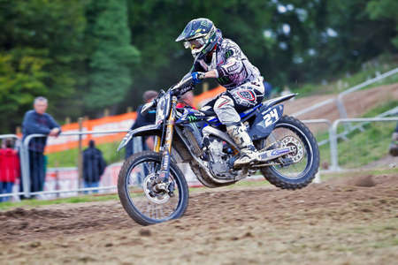mx: LANGRISH, UK - AUGUST 27: Shaun Simpson on his MX1 Yamaha heads downhill at speed across a heavily rutted track during the ACU Maxxis MX UK Championships at Manor Farm on August 27, 2012 at Langrish