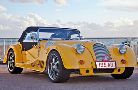 BRIGHTON, UK - NOVEMBER 2: A prototype hybrid Morgan sports car participating in the RAC FCC event sits on static display for public viewing on November 2, 2012 in Brighton