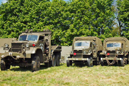 DENMEAD, UK - MAY 25: A selection of Allied military vehicles line up on show for public viewing at the Overlord show on May 25, 2013 in Denmead