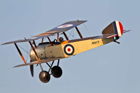 OLD WARDEN, UK - JULY 6  A Sopwith pup warms up on the outer edge of the airfield before giving an air display to the waiting crowds on July 6, 2013 in Old Warden