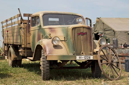 WESTERNHANGER, UK - JULY 17  A WW2 German Army Opel Blitz transport truck stands on static display for public viewing at the War   Peace show on July 17, 2013 in Westernhanger