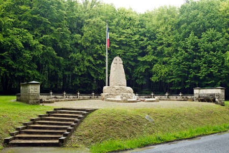 rejuvenated: VERDUN, FRANCE - MAY 17  A memorial to the fallen French poluis of the Verdun battles stands within the rejuvenated Verdun forest on May 17, 2013 in Verdun  Total Verdun deaths are estimated at 299K