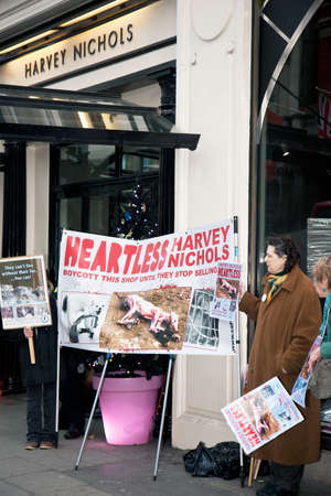protestors: LONDON - NOVEMBER 30  Protestors stand outside Harvey Nichols Knightsbridge store protesting at the sale of animal fur products and demanding a boycott of the store on November 30, 2013 in London