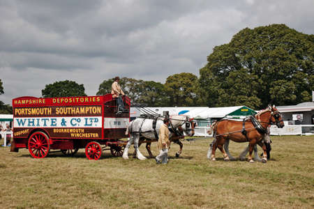 removals: BROCKENHURST, UK - JULY 31: A uniquely preserved vintage set of heavy horses and removals van parade around the arena at the New Forest show on July 31, 2014 in Brockenhurst Editorial