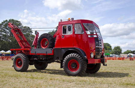 capabilities: POTTEN END, UK - JULY 27: An ex military Matador recovery truck is displayed for the public to watch its lifting capabilities at the Dacorum Steam & Country fair on July 27, 2014 in Potten End
