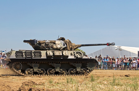allied: WESTERNHANGER, UK - JULY 18: An allied WW2 M10 tank destroyer is driven around the large parade arena for the public to view at the W&P show on July 18, 2014 in Westernhanger
