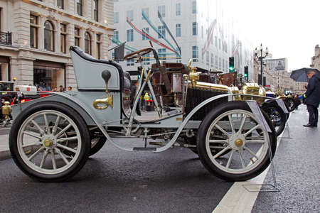 motorcar: LONDON - NOVEMBER 1: A veteran car is lined up in the centre of the road for static display at the annual Regent street motor show on November 1, 2014 in London