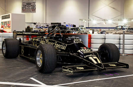 formula 1: LONDON - JANUARY 10: Nico Bindels vintage Formula 1 Lotus sportscar is put on public display during the inaugural London Classic Car Show event at the Excel arena on January 10, 2015 in London