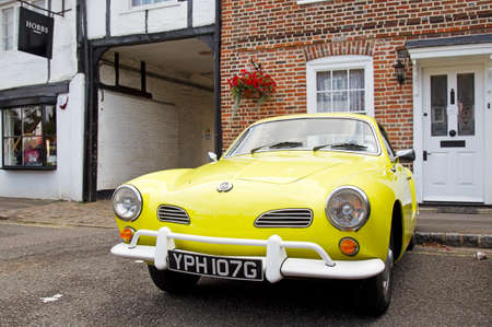 motorcar: AMERSHAM, UK - SEPTEMBER 7: A vintage VW sportscar is lined up on the High Street to stand on public display at the annual Amersham Heritage Day show on September 7, 2014 in Amersham