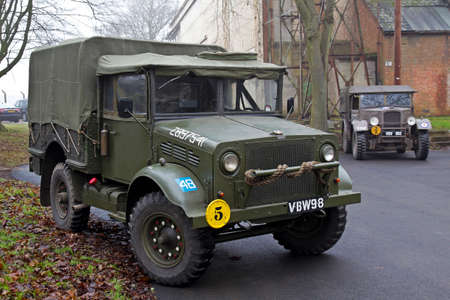 motorcar: BICESTER, UK - JANUARY 4: A vintage ex army Bedford MW support and logistics truck is displayed at the Bicester Heritage site during the MVTs Icicle runout meeting on January 4, 2015 in Bicester