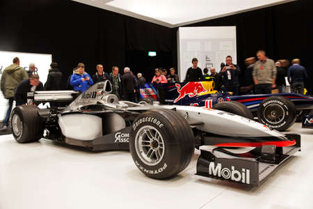 sportscar: LONDON - JANUARY 10: Mika Haakkinens Formula 1 McClaren sportscar is put on public display during the inaugural London Classic Car Show event at the Excel arena on January 10, 2015 in London
