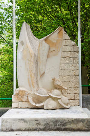 ww1: CHATTANCOURT, FRANCE - MAY 12: WW1 monument to the US 77th Divisions Lost Battalion of the 1918 Argonne battles marks the spot on the hillside close to where the battle took place on May 12, 2013 in Argonne Editorial