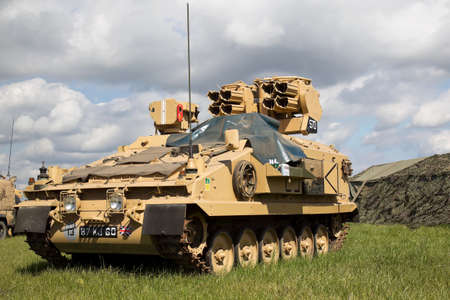 british army: WESTERNHANGER, UK - JULY 17: An ex British army CRV Milan missile launcher stands on static display for the public to view at the War  Peace show on July 17, 2014 in Westernhanger Editorial