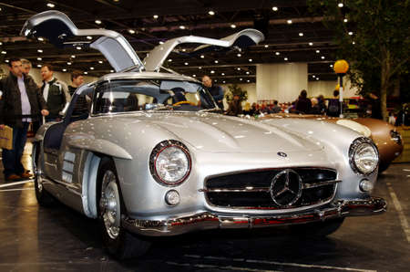 sportscar: LONDON - JANUARY 10: A vintage Mercedes Gullwing sportscar is put on public display at the inaugural London Classic Car Show event held at the Excel arena on January 10, 2015 in London Editorial