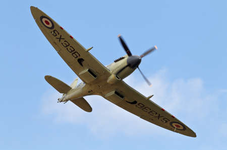 aerodrome: NORTHILL, UK - JULY 5: A Supermarine Seafire makes its approach to land at the Old Warden aerodrome in preparation for an aerial display for the public later in the day on July 5, 2015 in Northill