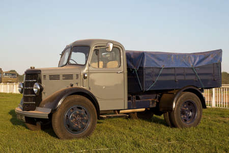 concourse: WESTERNHANGER, UK - JULY 20: A civilian vintage commercial lorry is put on public display on the main concourse at the War & Peace Revival show on July 20, 2016 in Westernhanger